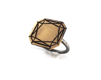 Faceted Gemstone Ring in Sterling and Brass