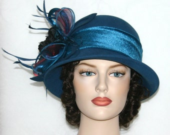 Flapper Hat Edwardian Hat Gatsby Hat Roaring Twenties Hat Cloche Hat - Mademoiselle Monique