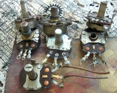 lot of 7 distressed as found Potentiometer industrial steampunk assemblage mixed media supplies
