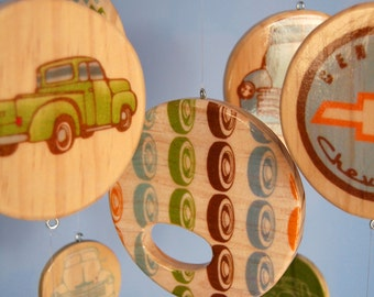Baby Mobile Vintage Chevy Trucks  - Wood Mobile - Chevrolet
