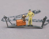 man with monkey diorama necklace- sterling silver & tiny plastic figure