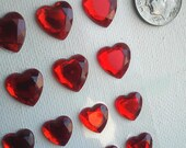 84 Faceted Valentine's Day Red Heart Flat Back Adhesive Stick-on Acrylic Rhinestone Crystals