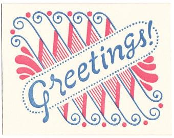 single GREETINGS letterpress card