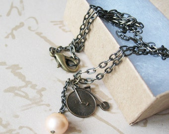 Bicycle Charm Necklace Antique Brass Penny Farthing Vintage Design Jewelry Pearl Necklace