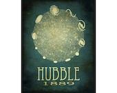 Edwin Hubble 8x10  - Rock Star Cosmic Pioneer Galaxies Fine Art Astronomer Steampunk Poster Print