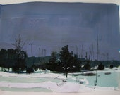 February 5, Original Landscape Collage Painting on Paper, Stooshinoff