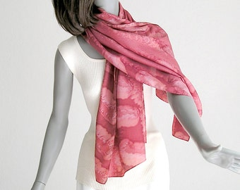 Hand Painted Silk Coverup, Coral Unique Shawl, Muted Red Wrap Scarf, Hand Dyed Silk, Dusty Cedar, One of a Kind, Hand Made, Jossiani.
