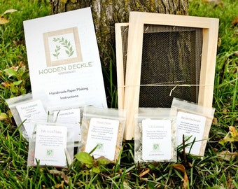 "Paper Making Kit: Original 5x7"" - Kit for Handmade Paper by Wooden Deckle - A7 - Papermaking by Recycling Used Paper - Make Your Own Paper"