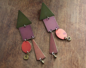 Geometric Structural Earrings.  Colorful.