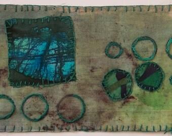 BATIK Fiber art turquoise blue teal green original appliqued embroidered primitive abstract wall art  frameable OOAK square circles