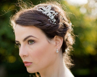 Floral Luxe Style Bridal Freshwater Pearl Headband, Nessa