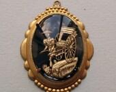 Vintage brass black Asian rickshaw charm