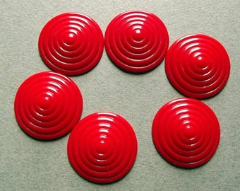 Vintage red concentric circle cabochons
