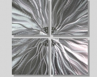 Natural Silver Contemporary Metal Accent - Abstract Metal Wall Art - Etched Floral Square Wall Sculpture - Short Circuit by Jon Allen