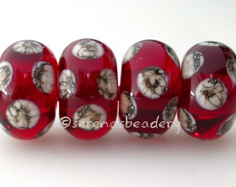 Lampwork Glass Bead Set Transparent RED SILVERED Ivory Polka Dots - TANERES