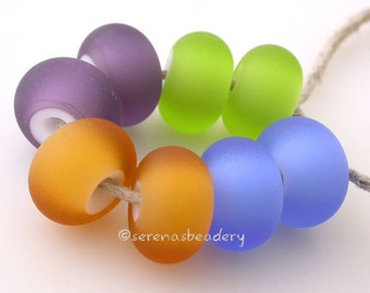 WHITE HEART MATTE Buyer's Choice Lampwork Glass Beads Pairs - - Handmade - taneres - purple blue green amber red orange and more