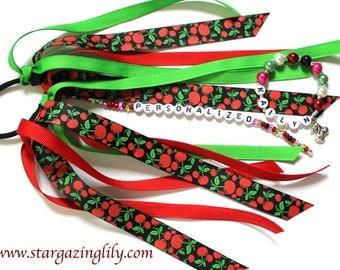 MATCHING SET Personalized Ponytail Holder and Name Bracelet - Sweet Summer Cherry Fruit Summer Set Pony tail streamer ribbon o ring elastic