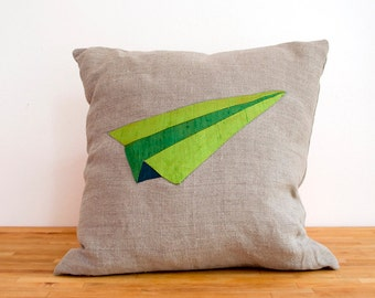 Origami Airplane Patchwork Pillow in Green - 14 Inches HUGE SALE