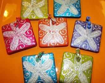 STAR FISH Art Pendant Hand Painted Beaded Jewelry Key West Resort Wear