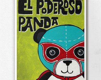 Luchamal El Poderoso Panda Wall Art Print