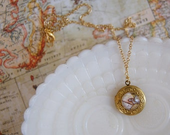 vintage map engraved brass locket- traveling whimsy