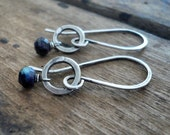 Solitaire Earrings - Semi-precious Gemstones, Hammered Sterling Silver, Choice of shiny or oxidized finishes