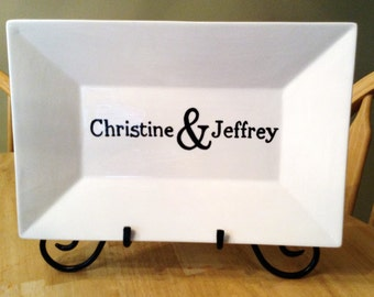 Custom Made Name Platter great for weddings or anniversary black and white