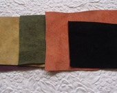 Suede pieces, leather rectangles, suede scraps