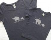 Mommy and Me Organic Cotton T Shirt Set - Baby T Shirt - Womens Graphic Tee - Elephant Shirt - Childrens Graphic Tee Shirt
