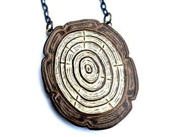 Oval Wood Slice Necklace, Woodgrain Jewelry, Tree Ring Necklace, Faux Bois Necklace, Wood Anniversary Gift for Wife, Woodworker Gift