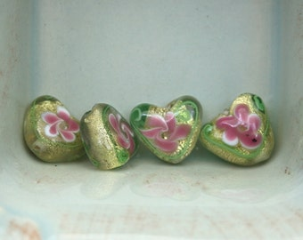 Heart shaped foil beads set of 4