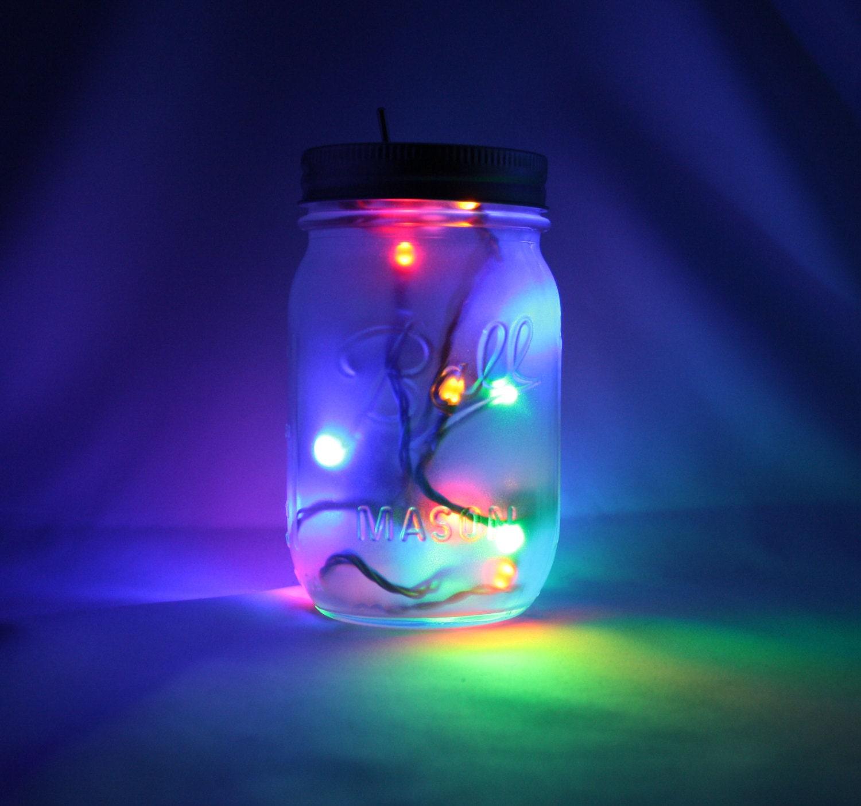 15 Led Rainbow Mason Jar Night Light W Blinking Disco By