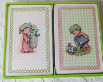 Vintage Hallmark Little Elf Playing Cards in Case, Two Complete Decks