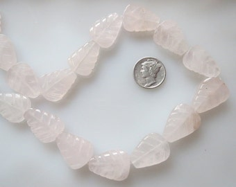 Rose Quartz Leaf Shape Beads 15x20mm Half Strand
