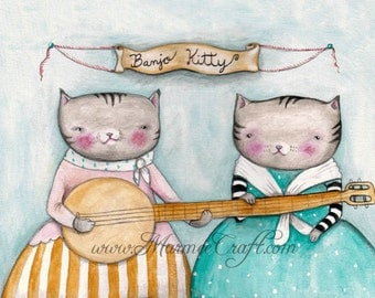 "MarmeeCraft art print- ""Banjo Kitty"""