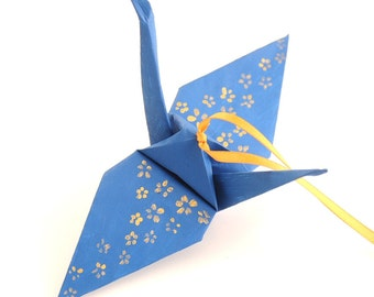 Gold Cherry Blossoms on Steel Blue Handpainted Origami Crane Ornament