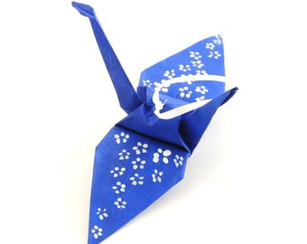 White Cherry Blossoms on Blue Handpainted Origami Crane Ornament