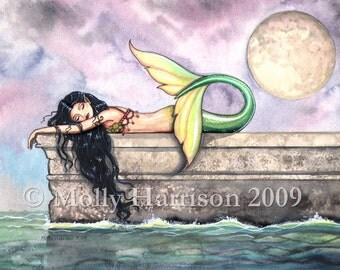 Pier of Dreams Mermaid Fine Art Print by Molly Harrison 9 x 12