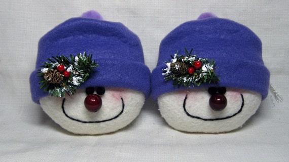 SNOWMAN ORNAMENTS STUFFED Snowman Decoration Happy Snowheads in Purple Set of 2, Christmas Ornament