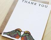 Birds Thank You Flat Notes-set of 10