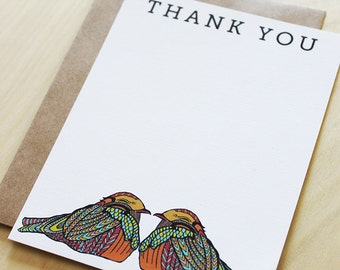 Birds Thank You Flat Notes-set of 10