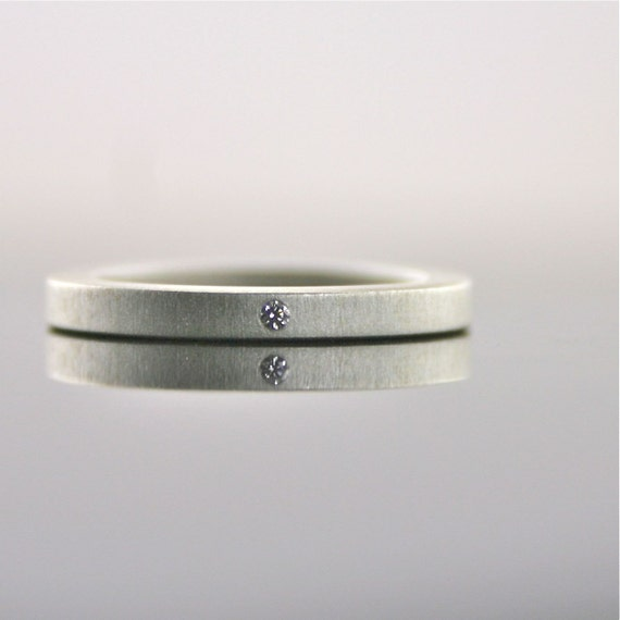 Tiny Diamond Sterling Silver Ring 2 mm Simple by CocoandChia