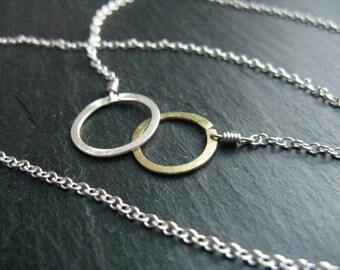 Sun + Moon circles  minimalist necklace, gold brass & silver interlock , infinity necklace, contemporary mixed metal , modern bridal
