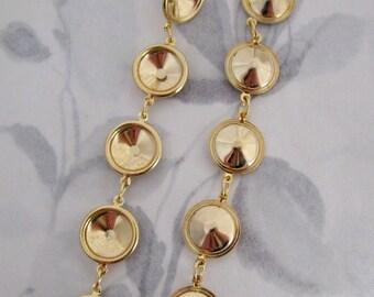 1 pair long dangling gold tone 12mm rivoli rhinestone settings earring findings - f4052