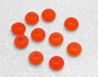 Large Hole Tangerine Sea Glass Beads- recycled glass