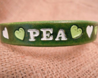 Custom Cat Collar - Leather - Cat Collar - Green Hearts