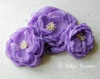 Bridal Hair Flowers, Wedding Accessories, Purple Sash Accessory, Floral Fascinator, Bridesmaid Gift Brooch, Wedding Sash In Lavender Chiffon