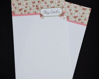 Shabby Chic Roses, personalized stationery set, letter writing set, hand written letters, 30 pieces, lined or unlined