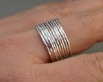 Thin Silver Rings , Stack of Ten Bands , Simple Hammered Sterling Silver Rings