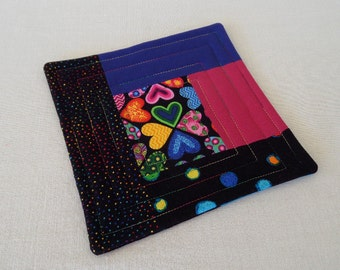 Coffee Quilt, Blue, Black and Pink with Hearts, Quilted Patchwork Coffee Coaster or Mug Rug